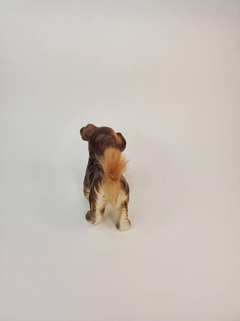 Vtg Dog figurine porcelain with real fur tail rabbit fur Terrier figurine Spaniel dog Japan
