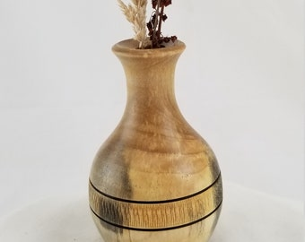 """105- Pacific Yew Twig Vase, 2.5"""" x4.25"""" Tall, Wood Turned Vase, Reclaimed Wood, Hand Turned, Twigs or Dried Flower Vase,Seasonal Decorations"""