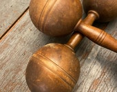 Pair of 19th c. Wooden Dumbbells Victorian Era Workout