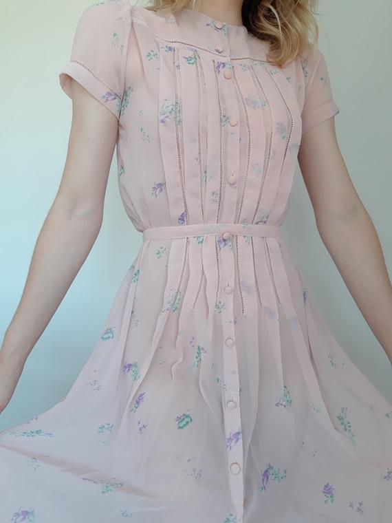 1970's Rose Chiffon Albert Nipon Dress