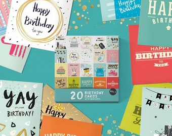 20 x Birthday Cards   Assorted Multi Bulk Pack   Hand Packed ECO Friendly Plastic Free