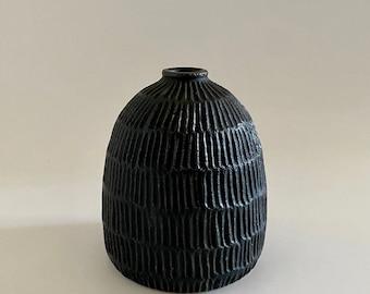 handcrafted textured sandstone vase