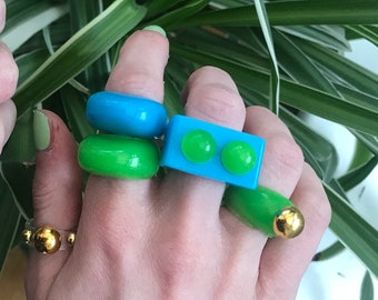 Resin ring setresin bubble ringstatement ringchunky resin ringy2k ringcolourful ringgift for sistermulticoloured ring