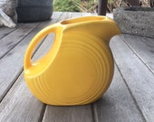 Fiesta Ware Yellow Juice Pitcher, Fiesta Disk Pitcher, Homer Laughlin 39 s Fiesta, Original Yellow Glaze, Collectible, Art Deco Style