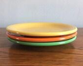Fiestaware bread and butter plates, Medium Green, Original Yellow, Original Red, GENUINE fiesta, Fiesta Ironstone, Art Deco Style