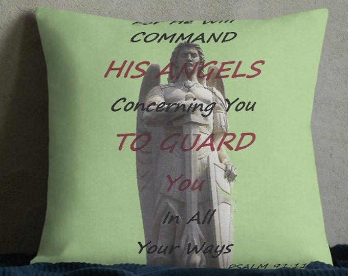 Featured listing image: Premium PSALM 91 Quote Pillow..Throw Pillow He Will Guard You Spiritual Quote Bible Quote
