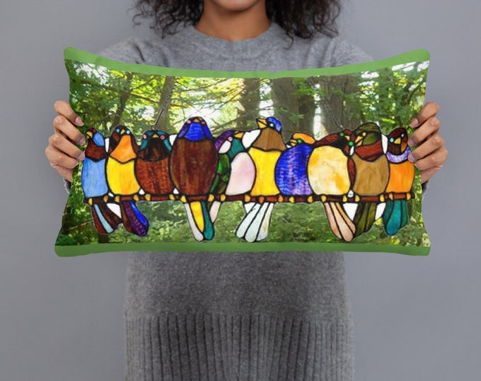 Featured listing image: Stunning Stained Glass Birds Throw Pillow...Woodland setting image ..FREE Shipping to & Made in the USA
