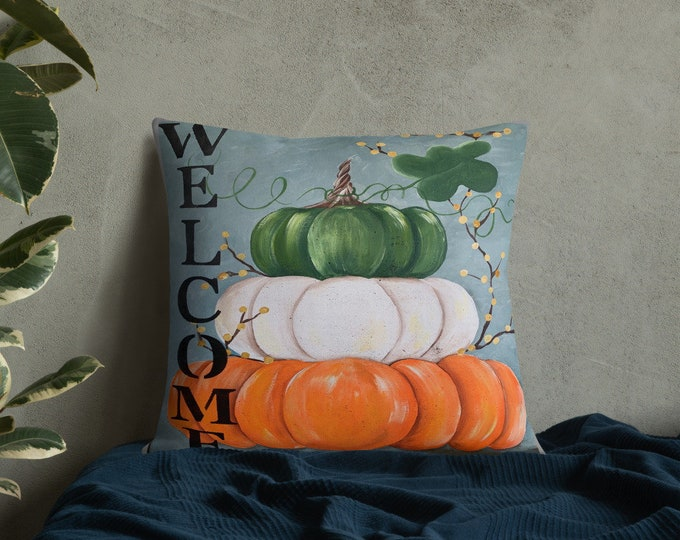 Featured listing image: Premium Pillow WELCOME 3 Stacked Pumpkins. Great Fall Gift. Home Décor, Porch Pillow