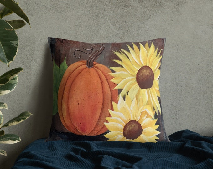 Featured listing image: Premium Pillow with Pumpkins and Sunflowers. Great Fall and Thanksgiving Gift. Home Décor, Porch Pillow