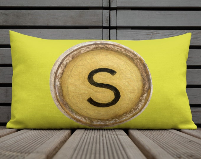 """Featured listing image: Premium Chartreuse Pillow Vintage Typewriter Key Letter MONOGRAM Letter """"S"""" Monogram Gift for Her"""