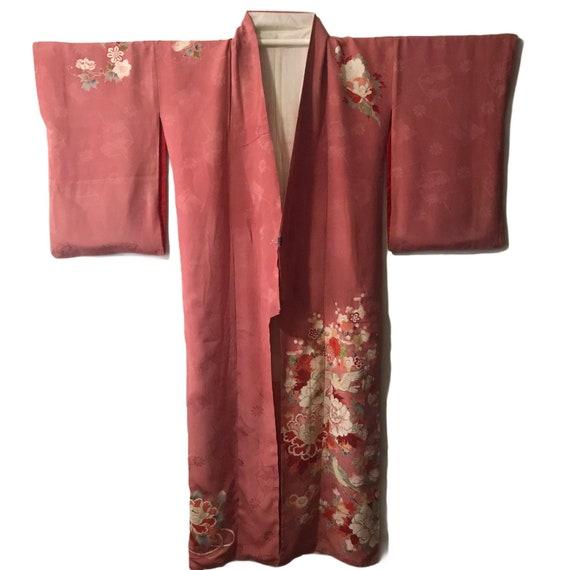 Vintage Japanese Silk Kimono Floral & Bird in cora