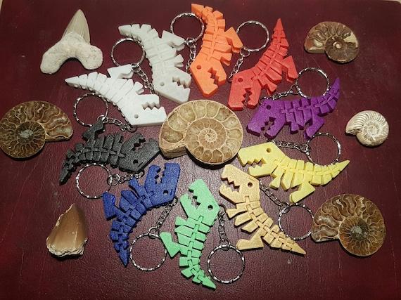 3D Printed Flexible T Rex Dinosaur Keyring,School Bag,Pencil Case,Glow in Dark
