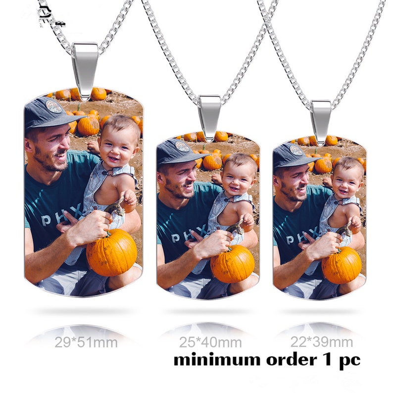 Personalized Stainless Steel Photo Tag,Photo Dog Pendant Engraved Photo Pendant Engraved Double Side Picture Dog Tag Custom Necklace Gift