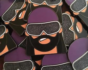 Classic Macho Man Glitter hard black enamel pin, wrestling gift, wrestling art, wrestling birthday
