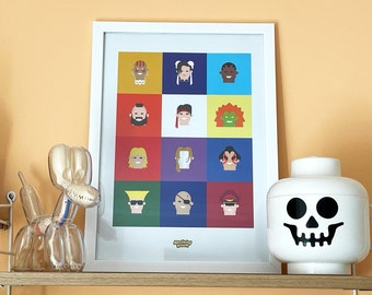 Classic Street Fighter II, Hall of Fame 12 character print. A3 retro games poster, street fighter gift