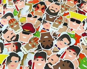 Street Fighter II 12 character sticker set, Christmas gift for him, 90s kid, Sega, Nintendo, retro games
