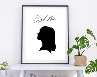 Custom Silhouette Portrait, Personalised Silhouette Print, Gift for Her, Portrait, Personalised Print, Gift for Family, Custom Art Gift