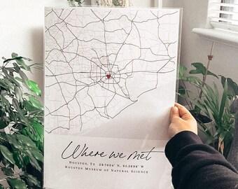 Where We Met Print, Custom Anniversary Map, Personalised map, map print, Map print, Paper Anniversary, Map Art, Engagement gift