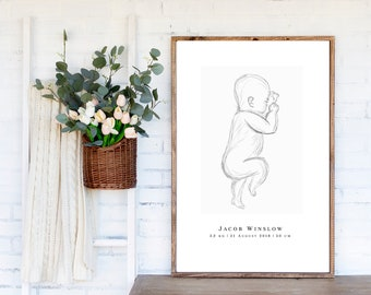 Baby Birth Poster, Baby Stats Print, Baby Sketch Print, Birth Statistics Personalised, Birth Stats Poster, Gift for New Mum, New Baby Gift