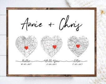 Hello, Will You, I Do, Art Print, 1st Anniversary Wedding Gift, First Anniversary Gift, Heart Art, Cotton Anniversary Gift, Cotton Gift