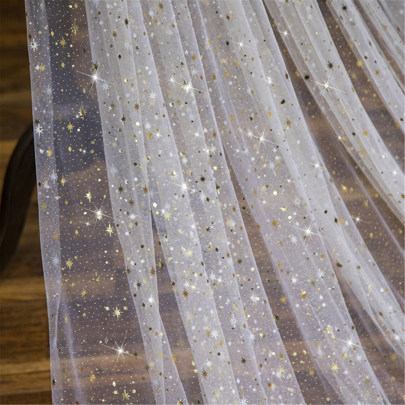 Shining Star Sequins Veil sparkling long Wedding Veil  Flashing Gold Bridal Veil  Glitter Veil Cathedral veil Gold Tulle with Gold Sequin