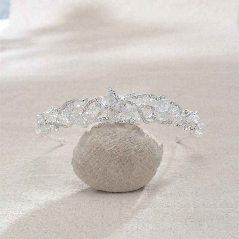 Full Diamond Starfish CrownHair BandStunning Silver Bridal CrowClassic StyleWedding Crystal Hair AccessoryWedding Gift