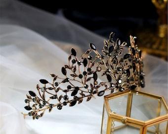Black Diamond Wedding Crown//Leaves Bridal Crown//Gothic Party Crown//Wedding Hairdress//Gothic Wedding Acessory//Black Wedding Tiara