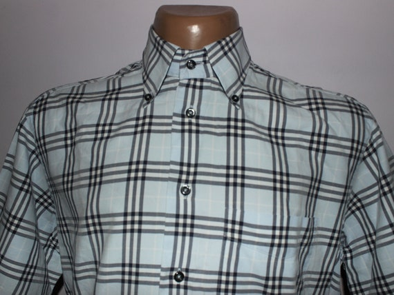 Genuine Mens BURBERRY Check Short Sleeve Shirt - L