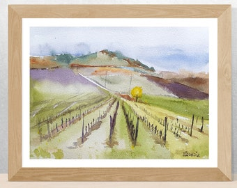 Autumn vineyard Original watercolor painting- Italian landscape, abstract landscape, peaceful wall art