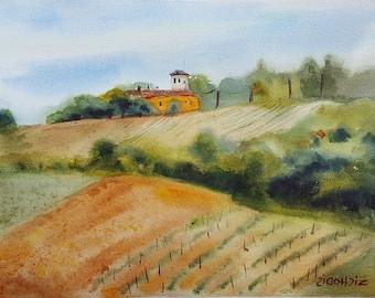 Vineyards ORIGINAL watercolor painting 11 x 15 Italy art, Italian landscape, peaceful view