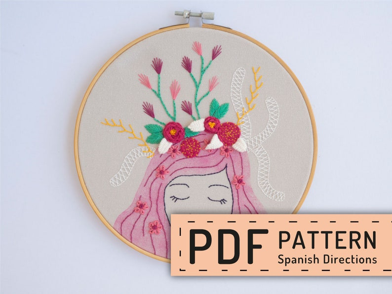 Embroidery PDF Mother earth hand embroidery pattern woman image 0