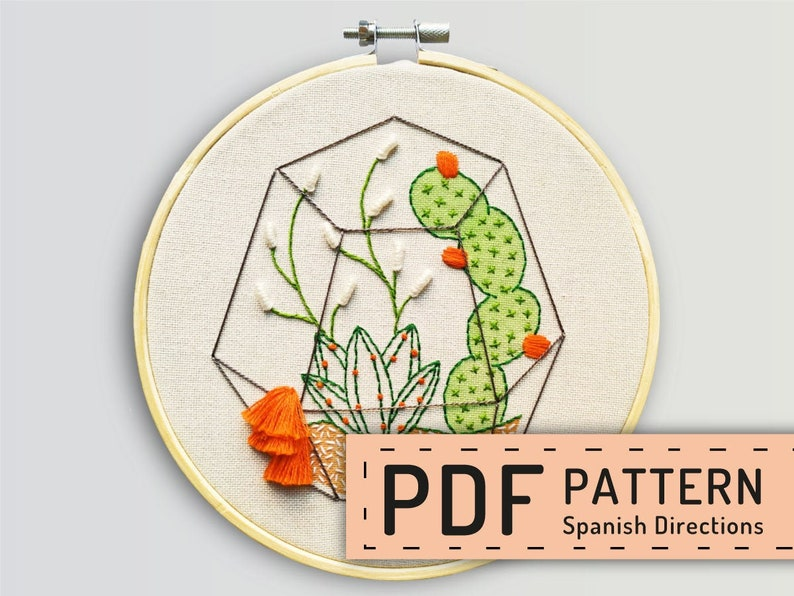 Download cactus embroidery hand embroidery PDF cactus image 0
