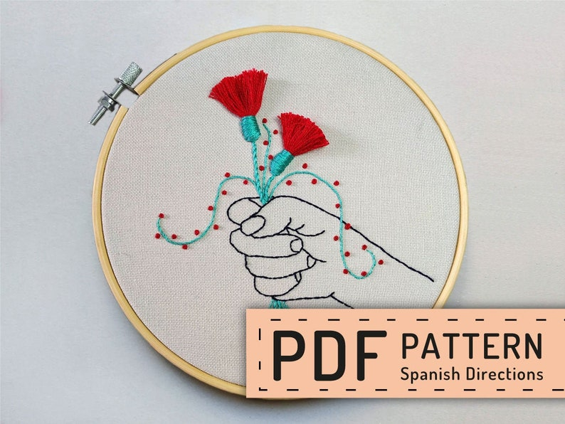 Hand embroidery pattern PDF hoop art DIY spanish directions image 0