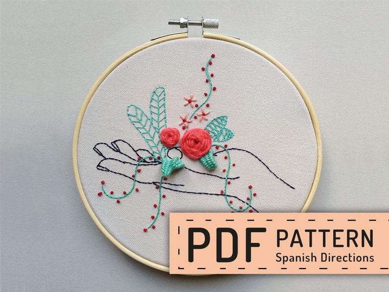 Hand embroidery pattern PDF hoop art DIY wall decor spanish image 0