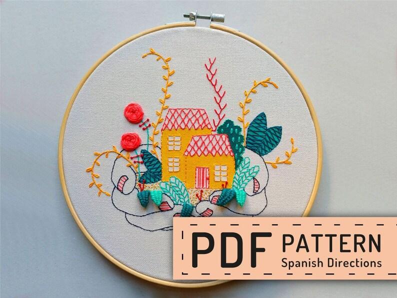 Hand embroidery pattern PDF hoop art DIY housewarming wall image 0