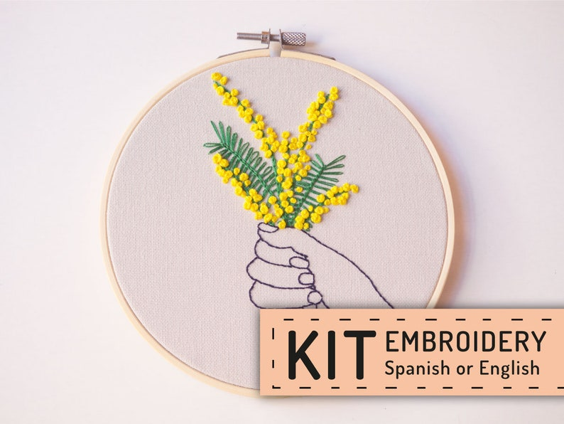 Hand embroidery pattern PDF Mimosa embroidery kit Embroidery image 0