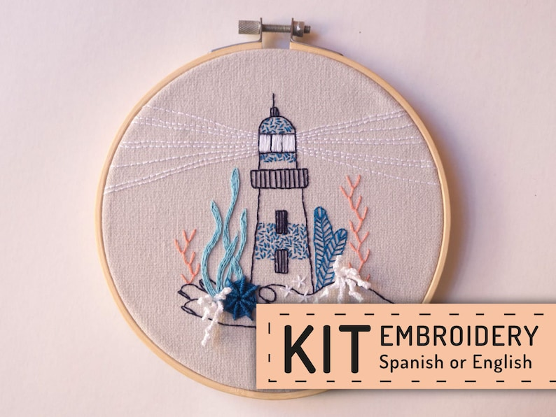 Hand embroidery KIT DIY blue lighthouse in hand embroidery image 0