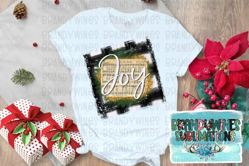 Ready to Press Sublimation Transfer Joy Christmas Music Notes