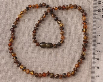 AMBER Necklace Cherry BALTIC AMBER Beads Ladies Knotted Gift Jewelry 18,7g 14272