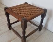 Rustic Vintage Wicker Stool Seat Chair Furniture