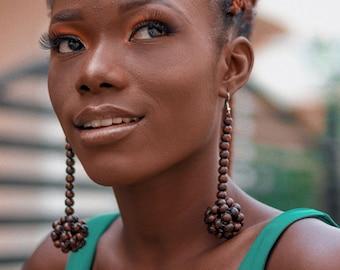 African earrings, Dangling earrings,beaded wood earrings, ethically made earrings, recycled accessories