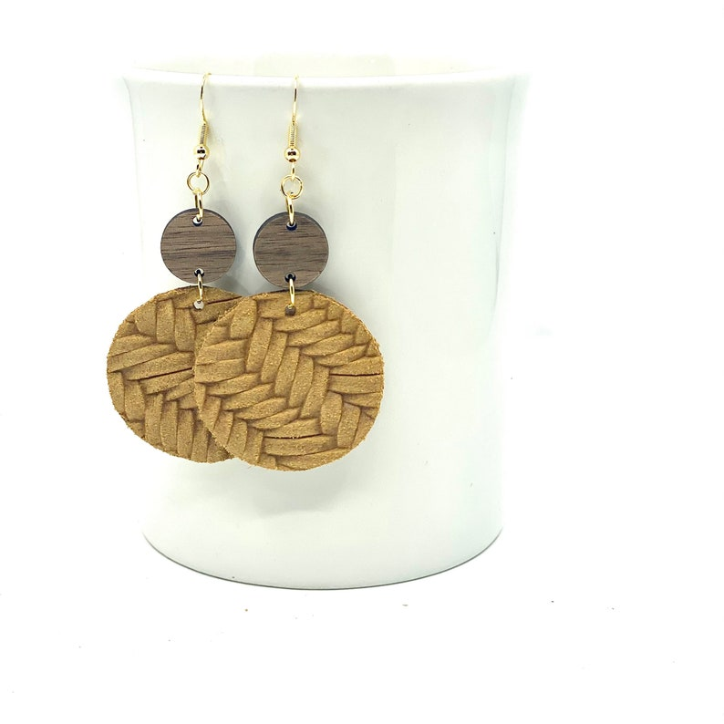 earrings gifts for her Leather Dangle Earrings wood earrings colorful earrings suede leather braided Multiple colors
