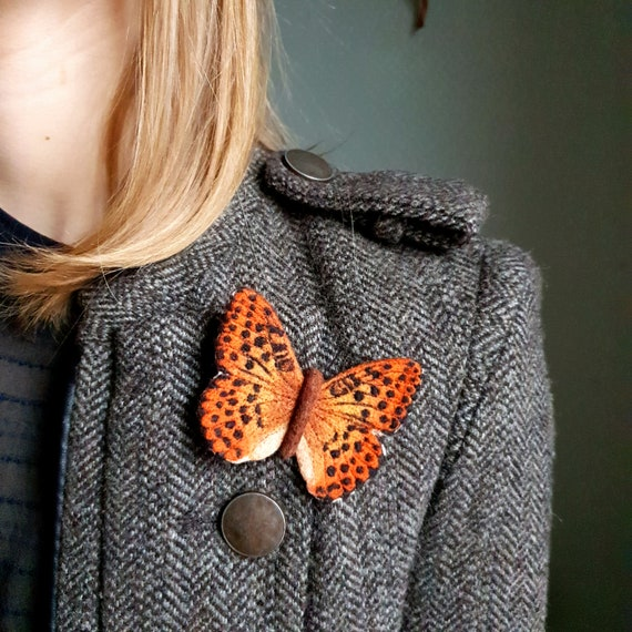 Bright Silver-washed Fritillary butterfly brooch is made in needlefelting technique Realistic natural colors of wings.
