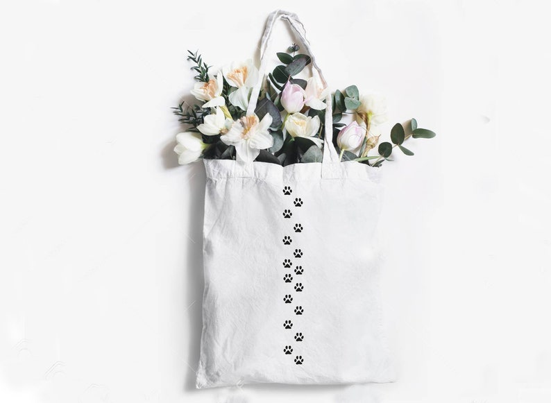 Cute Cat Steps Tote Bag Funny Cat Tote Bag Canvas Bag Shopping bag Cotton bag Reusable bag Cat lover gift