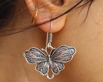 Butterfly Linear Drop Earrings / Social Butterfly Earrings / Long Earrings / Indian Style Earrings / Bridesmaid / Gift /