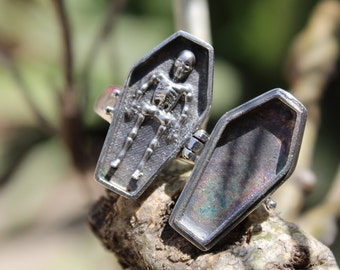 Vintage Coffin Poison Ring | Pill Box~Locket | Snuff Ring | Poison Ring | Secret Compartment |Boho Hippie |925 Sterling Silver Plated  Ring