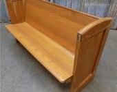 5 39 Vintage Church Pew Bench, Entryway Bench, Farmhouse Furniture, Wooden Bench G, Farmhouse Oak Church Pew, Wedding Decor, Rustic Bench