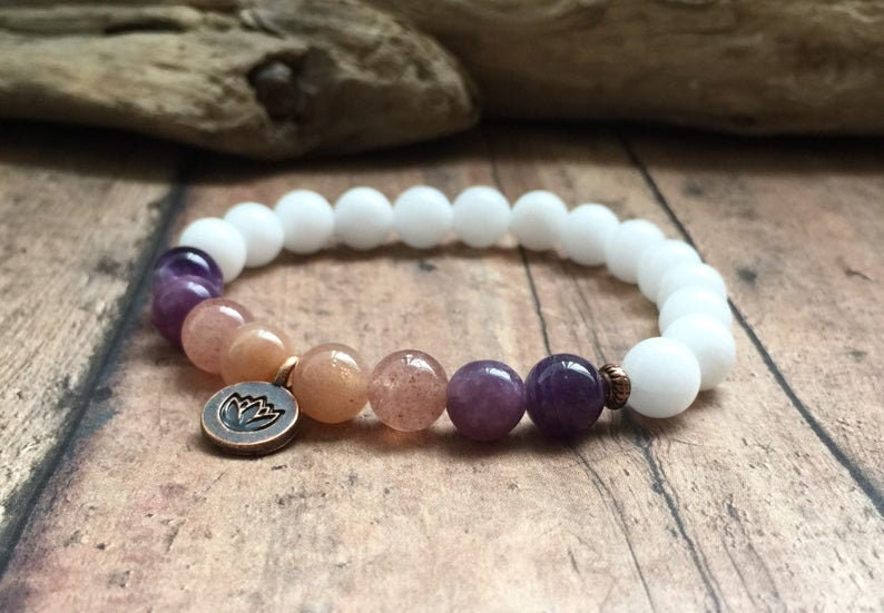 Love Energy Bracelet Amethyst Sunstone Spiritual Meditation Bracelet Positive Energy Bracelet Lepidolite Quartz Bracelet