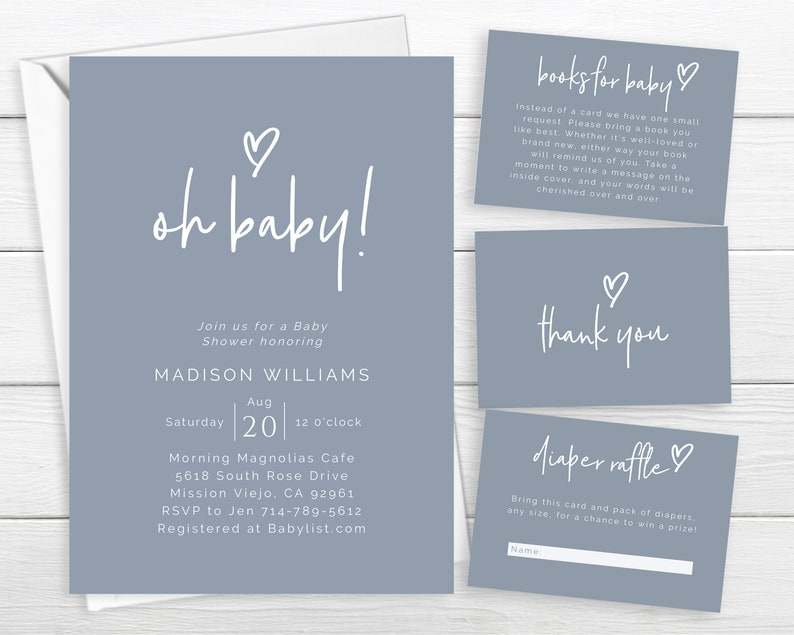 Heart Simple Dusty Blue Baby Shower Invite Self Editable Template Instant Download Oh Baby Modern Boho Chic Baby Boy Invite