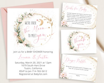Pink Floral Over The Moon Baby Shower Invite, Gold Greenery Eucalyptus Watercolor, Baby Girl, Twinkle Little Star, Succulents, Botanical